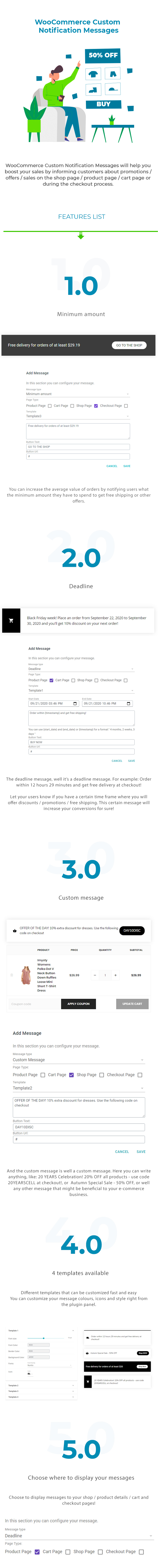 WooCommerce Custom Notification Messages for Shop / Products / Cart / Checkout Pages - 1